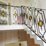 Перила кованые с вставками из стекла, п.Авиатор